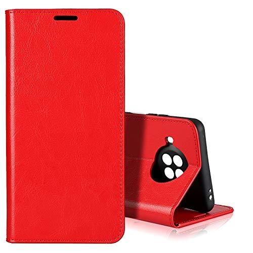 EATCYE für Xiaomi Redmi Note 9 Pro 5G Hülle, [Echtleder] Handyhülle [Extra Dünn] Brieftasche flip Lederhülle Schutzhülle [Versteckt Magnet] Premium Design Echt Leder Brieftasche (Rot)