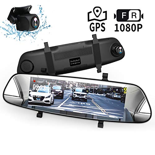 "Mirror Dash Cam, DuDuBell 7"" Backup Camera with External GPS, 1080P Front and 1080P Rear Camera with Starlight Night Vision IPS Touch Screen 290° Wide Angle, Reverse Assistance Parking Monitor HDR+"