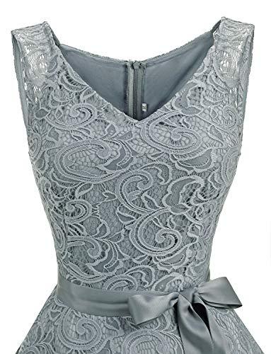 Dressystar Women Floral Lace Bridesmaid Party Dress Short Prom Dress V Neck XXXL Grey