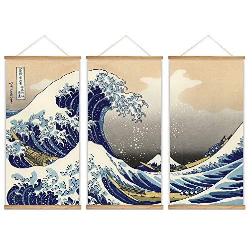 Great Wave 3 Panel Hanging Art