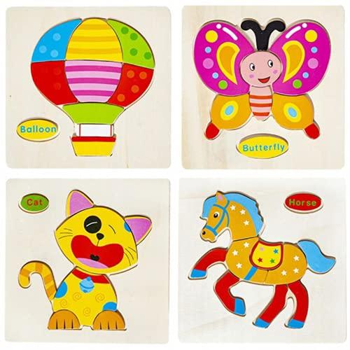 Puzzles de Madera Juguetes Educativos para niños de 2, 3, 4 años. Rompecabezas 3D de Madera Juguetes Montessori para Niños y Niñas. Aprendizaje y Diversión Garantizados