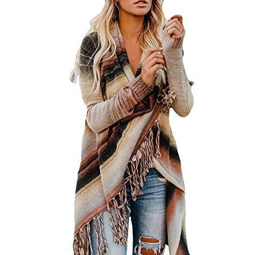 TUDUZ Damen Poncho Cape mit Rollkragen Gestrickten Pullover Sweater unregelmäßige Quaste Cardigan Strickwaren Mantel
