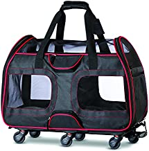 Katziela Pet Carrier with Removable Wheels - Soft Sided, Airline Approved Small Dog and Cat Carrying Bag with Telescopic Walking Handle, Mesh Ventilation Windows and Safety Leash Hook - Black