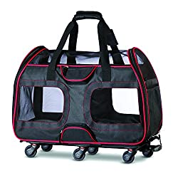 powerful Kaziera Pet Carrier with Detachable Wheels-Airline Approved Soft Small Dogs and Cats …