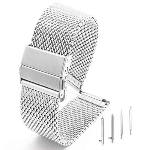 Adallor® 18mm, 20mm, 22mm Maglia Cinturini Orologio in Acciaio Inossidabile con Chiusura Déployante e Meccanismo di Regolazione della Lunghezza per Uomo e Donna