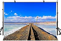 HD 7x5ftレール背景青空雲ヴィンテージ鉄道トラック写真背景写真スタジオ背景小道具LYGY124