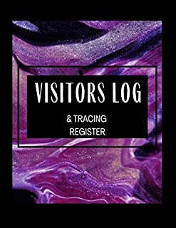 Visitors Log & Tracing Register: Black with Abstract Purple Design Tracking Register Log Book to Record Visitor Details as...