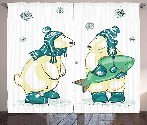 MSGDF Polar Bear Curtains, Friends with Christmas Acessories And Big Green Fish North Pole, Living Room Bedroom Window Drapes 2 Panel Set,Teal Pale Yellow And Green,Size:110' W X 90'L