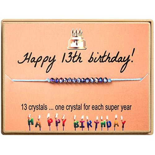 Birthday Gifts For Girls For 13 Year Old Girl 13th Birthday Bracelet With Crystal Beads Adjustable Jewelry for Her