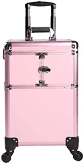 WSJTT Trolley Aluminum Alloy High Rolling Removable Organizer Trolley Extra Large Train Case Big Makeup Case Pink Capacity...