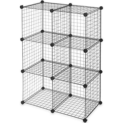 Topline 6 cubos de almacenamiento modulares de alambre, color negro, montaje sin herramientas
