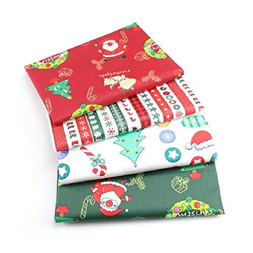 Foxlove 4 Paquetes De Tela De Algodón De Navidad Paquetes De Tela De Algodón con Estampado De Tela para Acolchar | Suave Y Duradero | 25x25 Cm