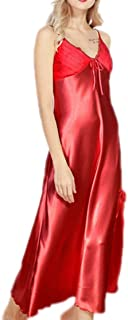 2 pcs,Silk Cloth Pajamas, Women's Back Elastic Strappy Nightdress, Summer Casual Home wear, Sleeveless Loose Robe, Comfortable and Soft (Color : Red, Size : S)