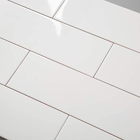 Diflart White Subway Porcelain Floor and Wall Tile 4 X 12 Inch DIY Installation Pack of 18 Pieces