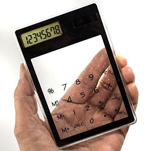 Solar Taschenrechner mit Touchfunktion, ultra flach, transparent. Rechner, Tischrechner, Calculator …