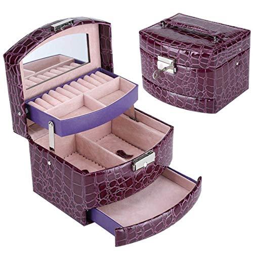shian Caja de Almacenamiento de cosméticos, Caja de Almacenamiento de Cuero de 3 Capas, Caja de Regalo, Caja de Regalo para Mujer, Embalaje, púrpura