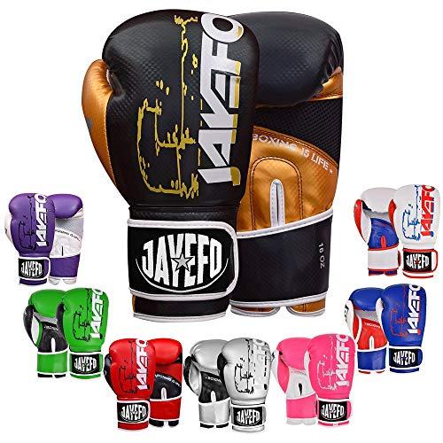 JAYEFO R-1 Ultimate Warrior Leather Boxing Gloves Muay Thai Gloves Sparring Gloves Training Bag Gloves MMA (Gold-Black, 8 OZ)