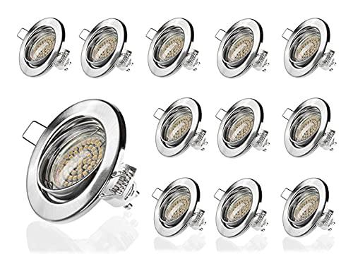 Sweet Led® Lot de 12 spots encastrables à LED GU10 3 W blanc chaud 230 V Cadre de montage Round Chrom Gebürstet