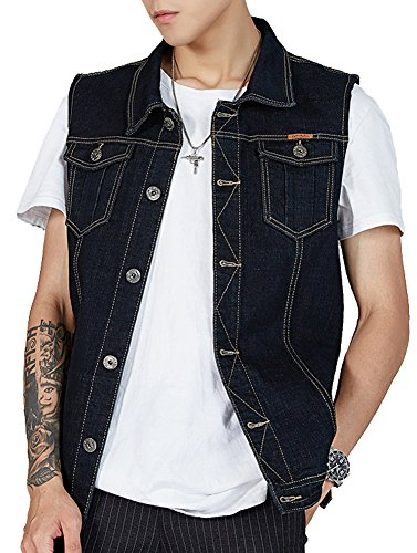 Kedera Men's Denim Vest Plus Size Button Down Jeans Vests Jacket