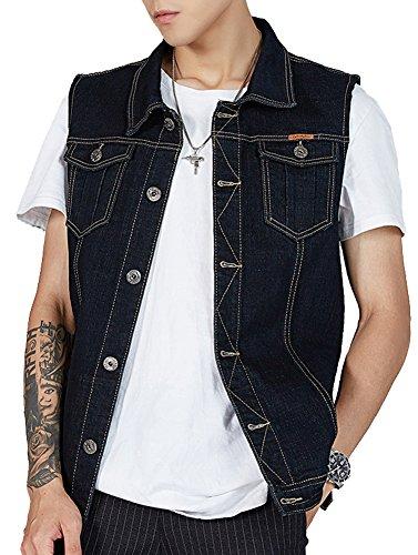 Kedera Men's Denim Vest Plus Size Button Down Jeans Vests Jacket Black