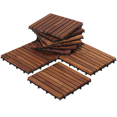 Bare Decor EZ-Floor Interlocking Flooring Tiles in Solid Teak Wood Oiled Finish (Set of 10), Long 9 Slat (Renewed)