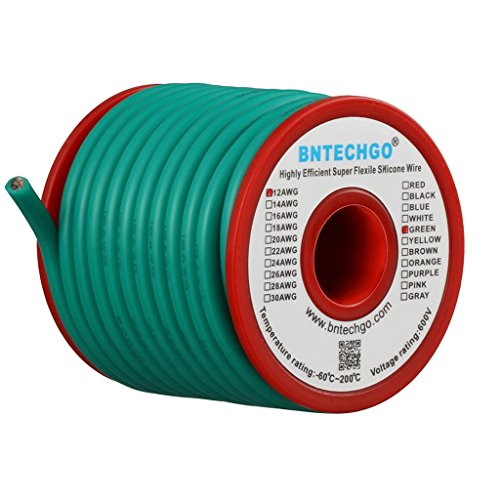 BNTECHGO 12 Gauge Silicone Wire Spool 25 ft Green Flexible 12 AWG Stranded Tinned Copper Wire