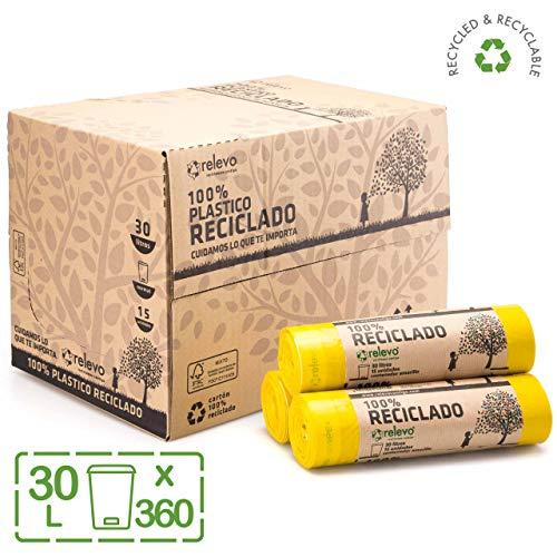Relevo 100% Reciclado Bolsas de Basura, extra resistentes 30 L, 360 bolsas