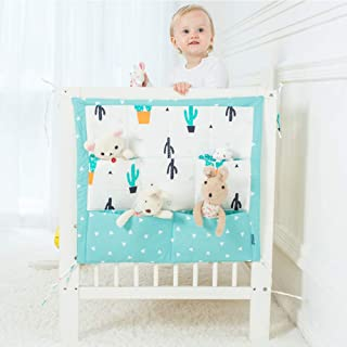Baby Bed Storage Bag Nursery Baby Cot Tidy Organiser Hanging Pockets Diapers Blankets Toys Organiser Bag Bedside Caddy for Baby Bed Cot  5