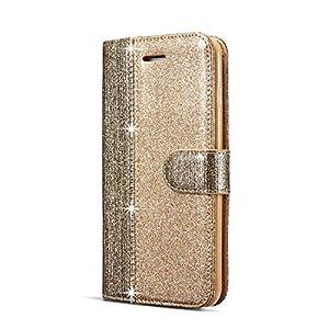 JAWSEU Handyhülle für Samsung Galaxy S7 Hülle Glänzend Glitzer Leder Flip Case Bling Strass Diamant PU Leder Hülle Schutzhülle Brieftasche Tasche Ständer Magnetverschluss Kartenfach Handytasche,Gold