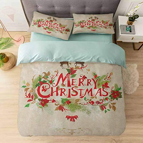 Duvet Cover Set, Merry Xmas Wish with Fir Tree Branches Poinsettia Flowers Cute Birds and, 1 Duvet Cover with 2 Pillowcases-Hypoallergenic, Easy Care, Soft and Durable, Green Red Tan