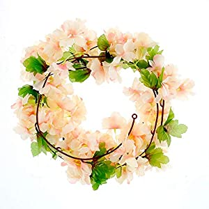 AirSun Artificial Cherry Blossom Vines, 2pcs 15Feet Hanging Plants Silk Garland Fake Cherry Flowers for Home Garden Wall Fence Indoor Outdoor Wedding Birthday Decor (Champagne)