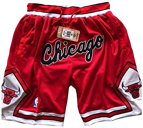 Generics Bulls Shorts Mesh Basketball Retro Chicago Bulls Swingman Sports Shorts M-XXL-Chicago-red_X