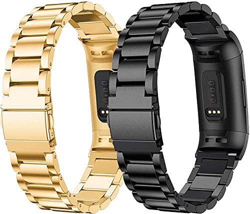 Gransho Correa de Reloj Compatible con Fitbit Charge 4 / Charge 4 SE/Charge 3 SE/Charge 3, Pulsera metálica Ajustable de Acero Inoxidable (Pattern 2+Pattern 4)