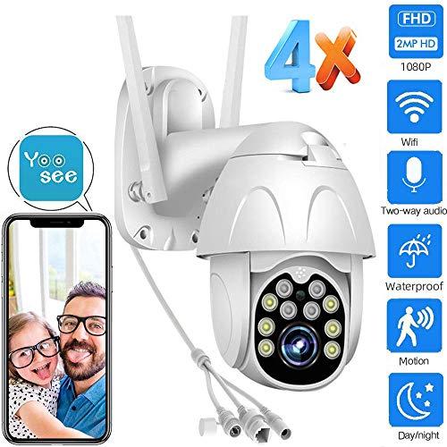 IP-PTZ-Kamera für den Außenbereich 1080P WiFi-Kamera CCTV-Kamera Zwei-Wege-Audio-Nachtsicht IP66 Wasserdichte Bewegungserkennung Mobile Tracking, Verwendung in Garagengeschäften usw. WiFi-Kamera