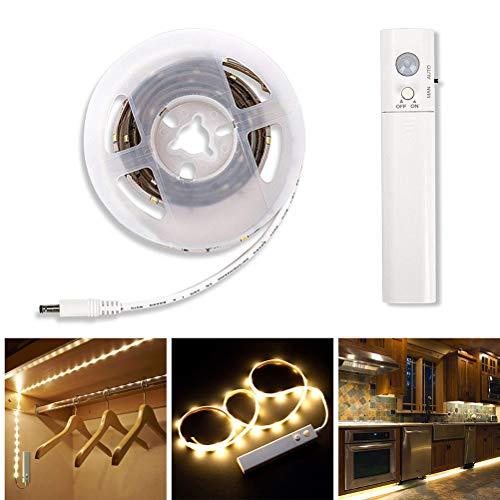 Uni-Wert LED Streifen 1M LED Strip mit Bewegungsmelder Batteriebetrieben 30 LED Band Lichtleiste Nachtlicht für Kinderbet, Schlafzimmer, Schrank, Schublade, Treppe (Warmweiß, 1M)