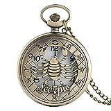 WLALLSS Taschenuhr, Vintage Bronze Quarz Taschenuhr Hohl Skorpion Gehäuse Einzigartiges Geschenk für Männer