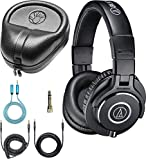 Audio-Technica ATH-M40x Dynamic Headphones Bundle with Full-Sized HardBody Pro Headphone Case, and Blucoil 6-FT Headphone Extension Cable (3.5mm)