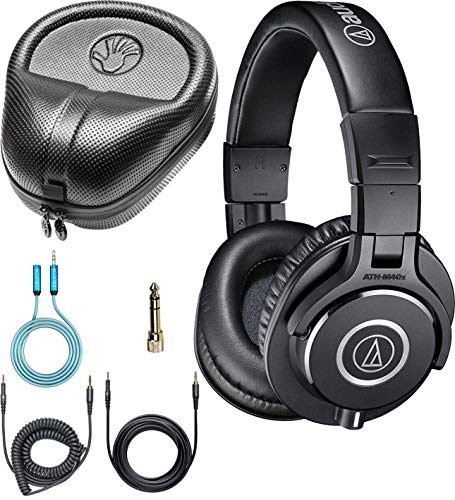 Audio Technica ATH-M40x Professional Studio Monitor Dynamic Headphones Bundle with Blucoil 6-FT Headphone Extension Cable (3.5mm), and Slappa Full-Sized HardBody Pro Headphone Case