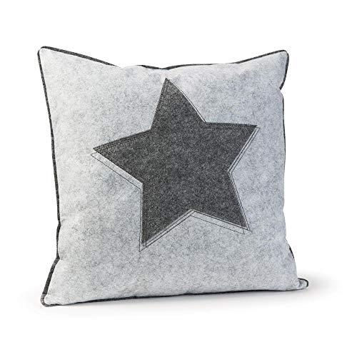 luxdag Kissenbezug/Zierkissenhülle 'Stern' aus Filz (1 STK.), hellgrau (Farbe wählbar) | Bezug mit Reißverschluss für 40x40 cm Kissen