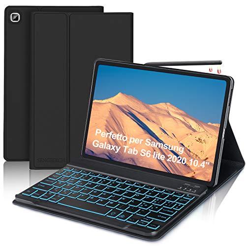 SENGBIRCH Tastiera con Custodia per Samsung Galaxy Tab S6 Lite 2020 10.4 (SM-P610 P615) con Italiano Retroilluminato Tastiera Bluetooth, Protettiva Sottile Custodia con Auto Svegliati Sonno, Nero