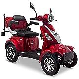 Rolektro E-Quad 25 V.3 Pro Rot mit Lithium Akku - Elektromobil 4-Rad - 80km Reichweite - 1000W Seniorenmobil mit Zulassung