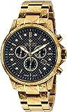 LOUIS XVI Herren-Armbanduhr Palais Royale Stahlband Gold Schwarz Karbon echte Diamanten Chronograph Analog Quarz Edelstahl 873