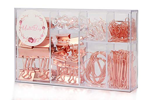 Buqoo Paper Clips Set,Binder Clips,Push Pins,Large Paper Clips,The Best Choice for Desktop Storage(154 in Total;Rose Gold)
