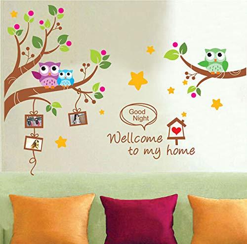 Cartoon Eulen Vögel Bilderrahmen Wandaufkleber Kinder Vinyl Aufkleber Kindergarten Klassenzimmer Dekoration Abnehmbare Familie Poster