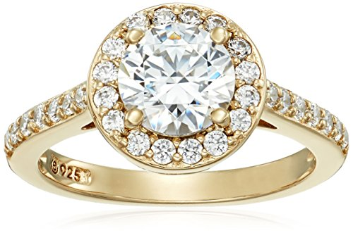 Yellow-Gold-Plated Sterling Silver Round-Cut Halo Ring made with Swarovski Zirconia, Size 7