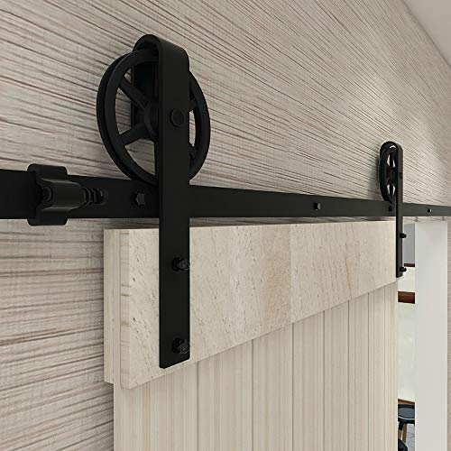 228cm/7.5FT Schiebetürbeschlag Set Schiebetürsystem Zubehörteil für Schiebetüren Innentüren, Schwarz/Sliding Barn Door Hardware Kit Big Spoke Wheel
