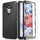 AMENQ Case for LG Stylo 6 Phone, Stylo 6 Case with Screen Protector, Slim Fit Full Body Heavy Duty Shockproof TPU Bumper and PC Armor Hard Protective Phone Armor Cover (Black)