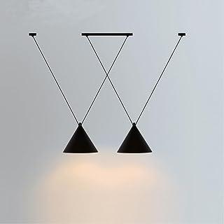 2 Cabeza Retro Decoración de Diseño Vintage Lámpara Colgante Lámparas Industrial Minimalista Negro Loft Hierro Suspendido Pantallas de lámparas Redonda Lámpara Edison Titular Punto de Techo Comedor