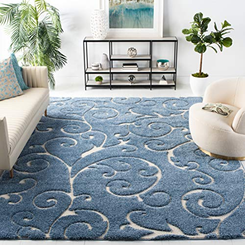 Safavieh Florida Shag Collection SG455-6011 Scrolling Vine Graceful Swirl Textured 1.18-inch Thick Area Rug, 5' Square, Light Blue/Cream