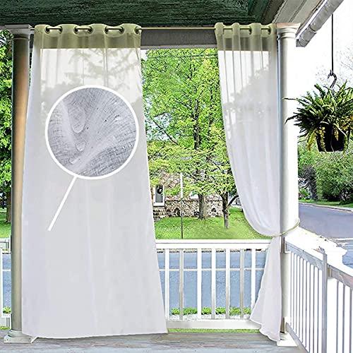 PPGE Home Tende Idrorepellenti con Anelli Esterno 2 Pannelli Tenda Trasparente-Tenda Oscurante per Esterni Pergolati Tende per Anteriore,Patio (Bianche) 52x108inch(2PC)
